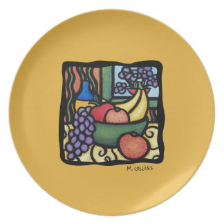 Wine And Cheese Bright Colors Faux Mosaic Plate