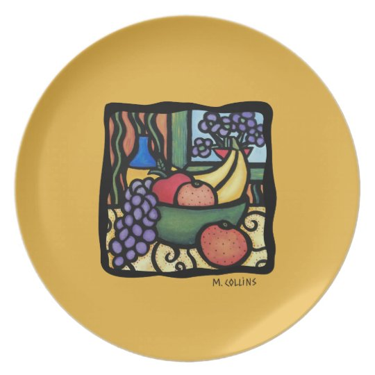 Wine And Cheese Bright Colours Faux Mosaic Plate