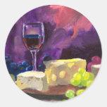 Wine and Cheese Classic Round Sticker