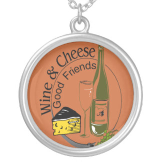 Wine and Cheese Good Friends Round Pendant Necklace