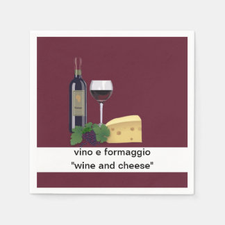 Wine and Cheese Party Paper Napkins