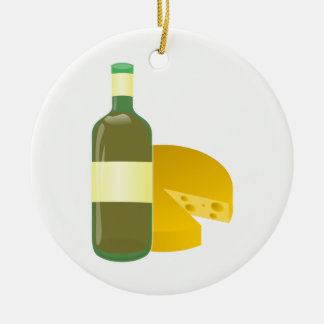 Wine and Cheese Round Ceramic Decoration