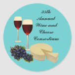 Wine and Cheese Series Round Stickers