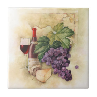 Wine and Cheese Small Square Tile