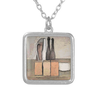 Wine and Cheese Square Pendant Necklace
