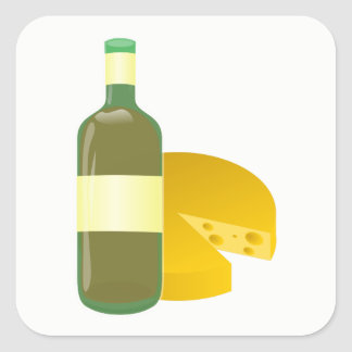 Wine and Cheese Square Sticker