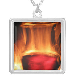 Wine and Fire Square Pendant Necklace