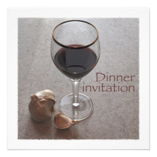 wine and garlic dinner invitation