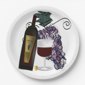 Wine and Grapes 9 Inch Paper Plate