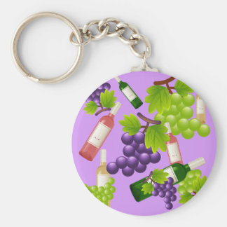 Wine and Grapes Basic Round Button Key Ring