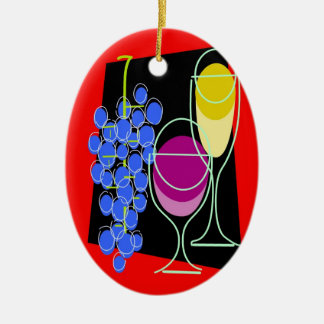 Wine and Grapes Christmas Ornament