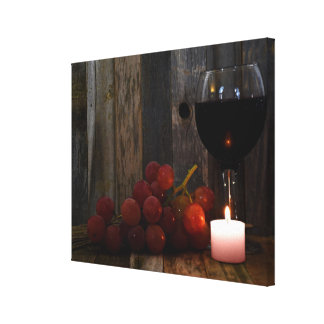 wine and grapes glow canvas print