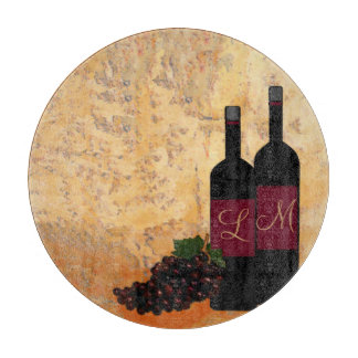 Wine and Grapes- Monogrammed Cutting Board