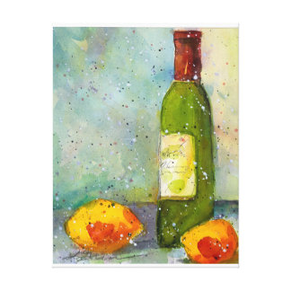 Wine and Lemons watercolor painting Canvas Print