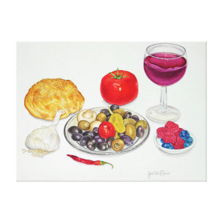 Wine and Olives Gallery Wrapped Canvas