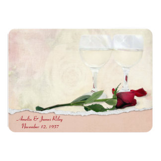 Wine and Rose Anniversary Party 11 Cm X 16 Cm Invitation Card