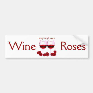 """""""WINE AND ROSES"""" RED WINE AND ROSES PRINT BUMPER STICKER"""