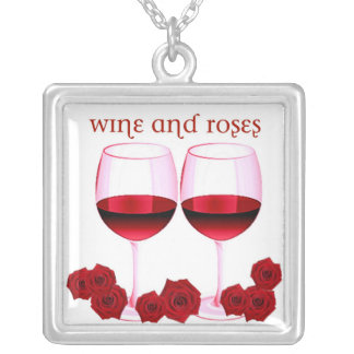 """""""WINE AND ROSES"""" RED WINE AND ROSES PRINT SQUARE PENDANT NECKLACE"""