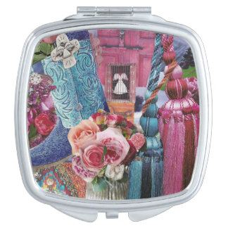 Wine and Silver Blue Compact Mirrors