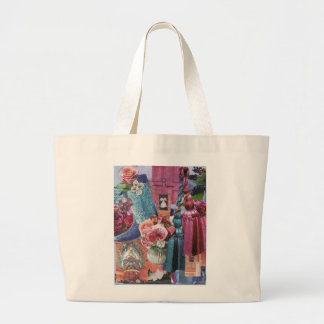 Wine and Silver Blue Jumbo Tote Bag