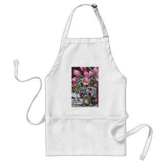 wine and tulips aprons