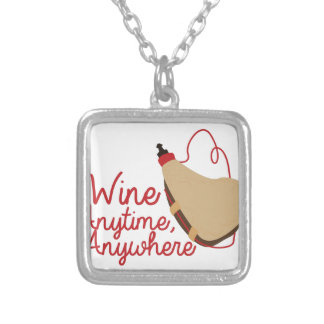 Wine Anytime Square Pendant Necklace