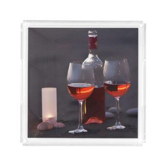 wine at the beach acrylic tray