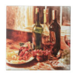 Wine At The Table by Shawna Mac Small Square Tile
