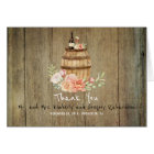 Wine Barrel and Pink Blush Floral Rustic Thank You Card