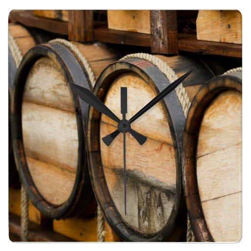 Wine Barrel Row Wall Clocks