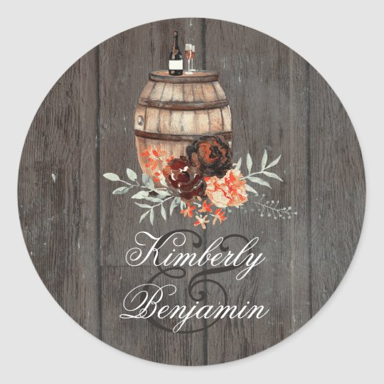Wine Barrel Rustic Burgundy Flowers Wedding Classic Round