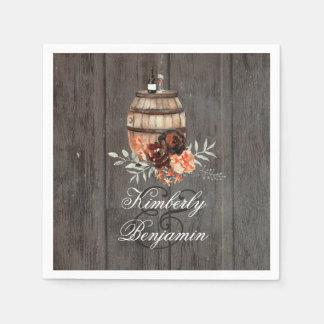 Wine Barrel Rustic Floral Wood Wedding Disposable Serviette