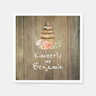 Wine Barrel Rustic Floral Wood Wedding Paper Napkins