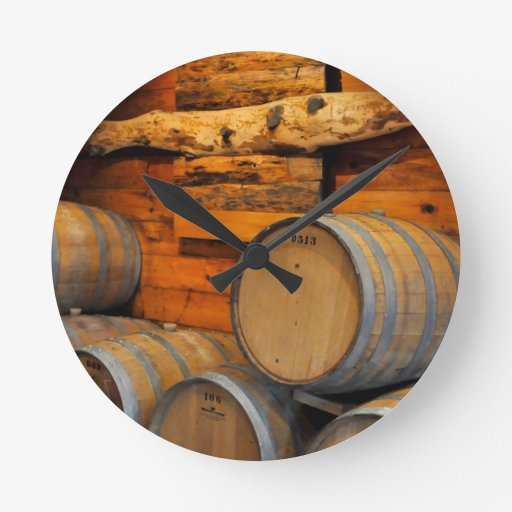 wine barrels round clock