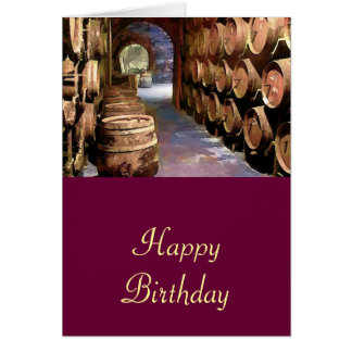 Wine Barrels in the Wine Cellar Birthday Card