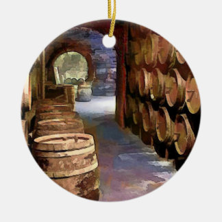 Wine Barrels in the Wine Cellar Christmas Ornament