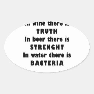 Wine Beer Water Oval Sticker