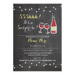 Wine Birthday Party Chalk red glass ANY AGE Invite