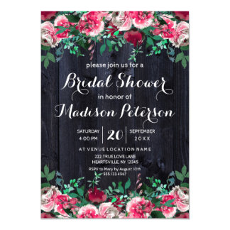 Wine Blush & Navy Wood Bridal Shower Invitation