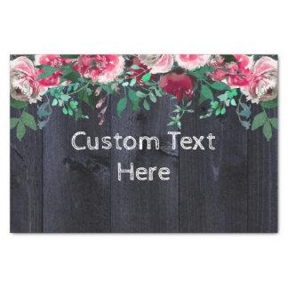 Wine Blush & Navy Wood Burgundy Custom Wedding Tissue Paper