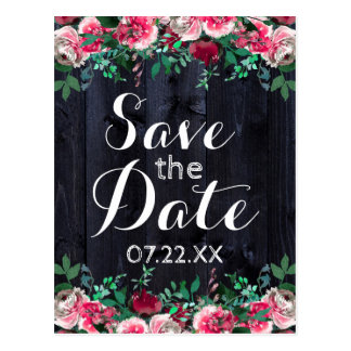 Wine Blush Navy Wood Burgundy Peony Save the Date Postcard
