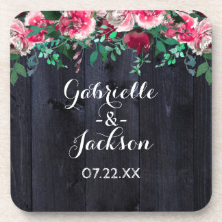 Wine Blush & Navy Wood Burgundy Wedding Monogram Coaster