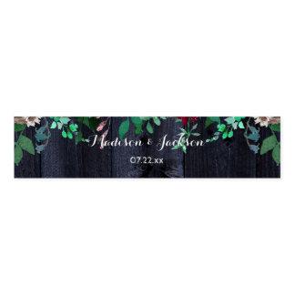 Wine Blush & Navy Wood Burgundy Wedding Monogram Napkin Band