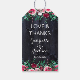 Wine Blush & Navy Wood Chic Wedding Love & Thanks Gift Tags