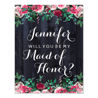 Wine Blush Navy Wood Will You Be My Maid of Honour Card