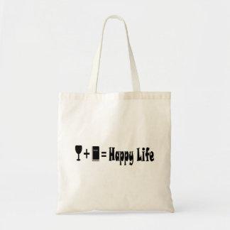 Wine + Book = Happy Life Tote