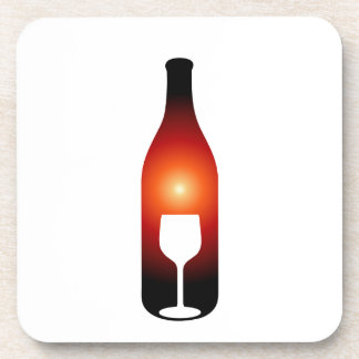 Wine bottle and glass beverage coasters