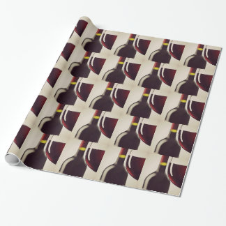 Wine Bottle and Glass Design Wrapping Paper