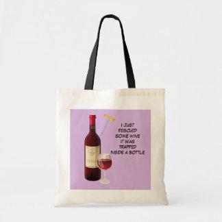 Wine bottle and glass illustration tote bag