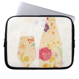 Wine Bottle and Glass Laptop Sleeve